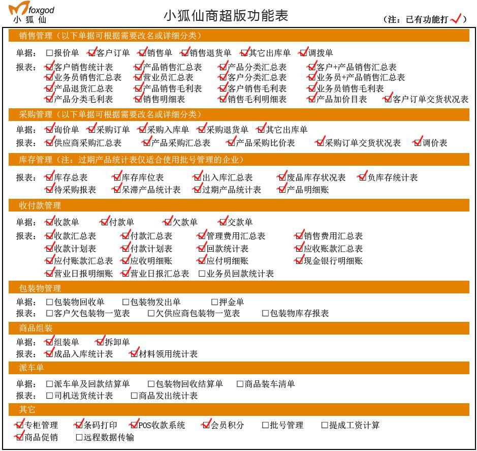 小狐仙商超版功能表