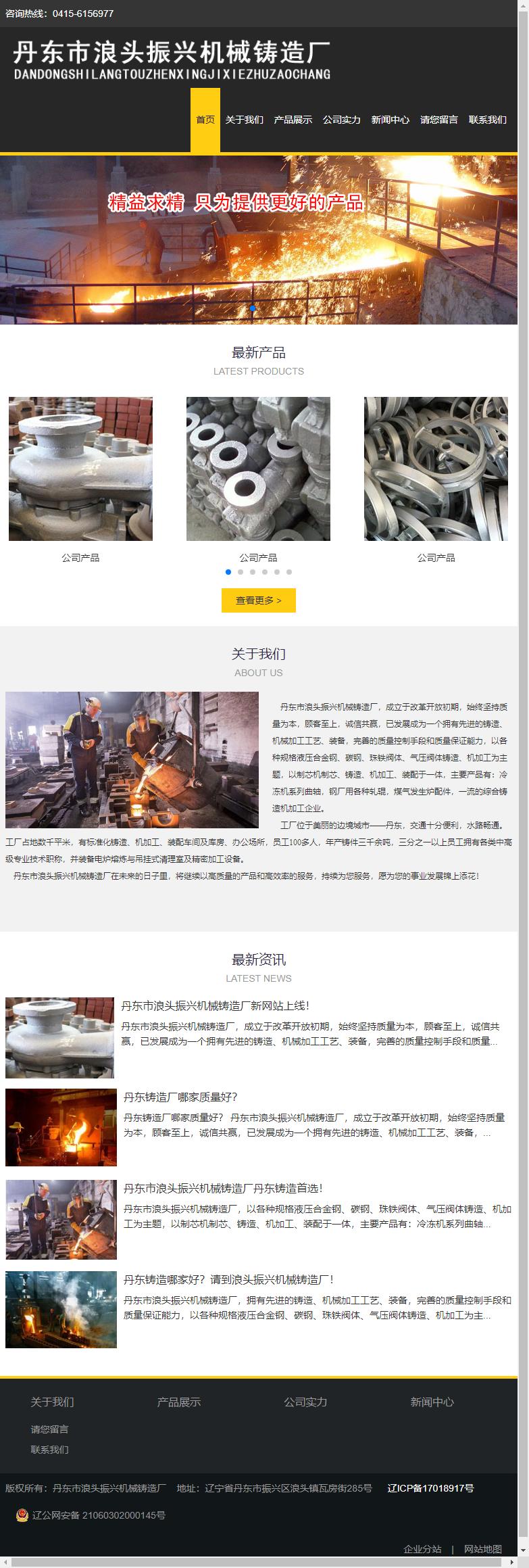 丹东市浪头振兴机械铸造厂网站案例