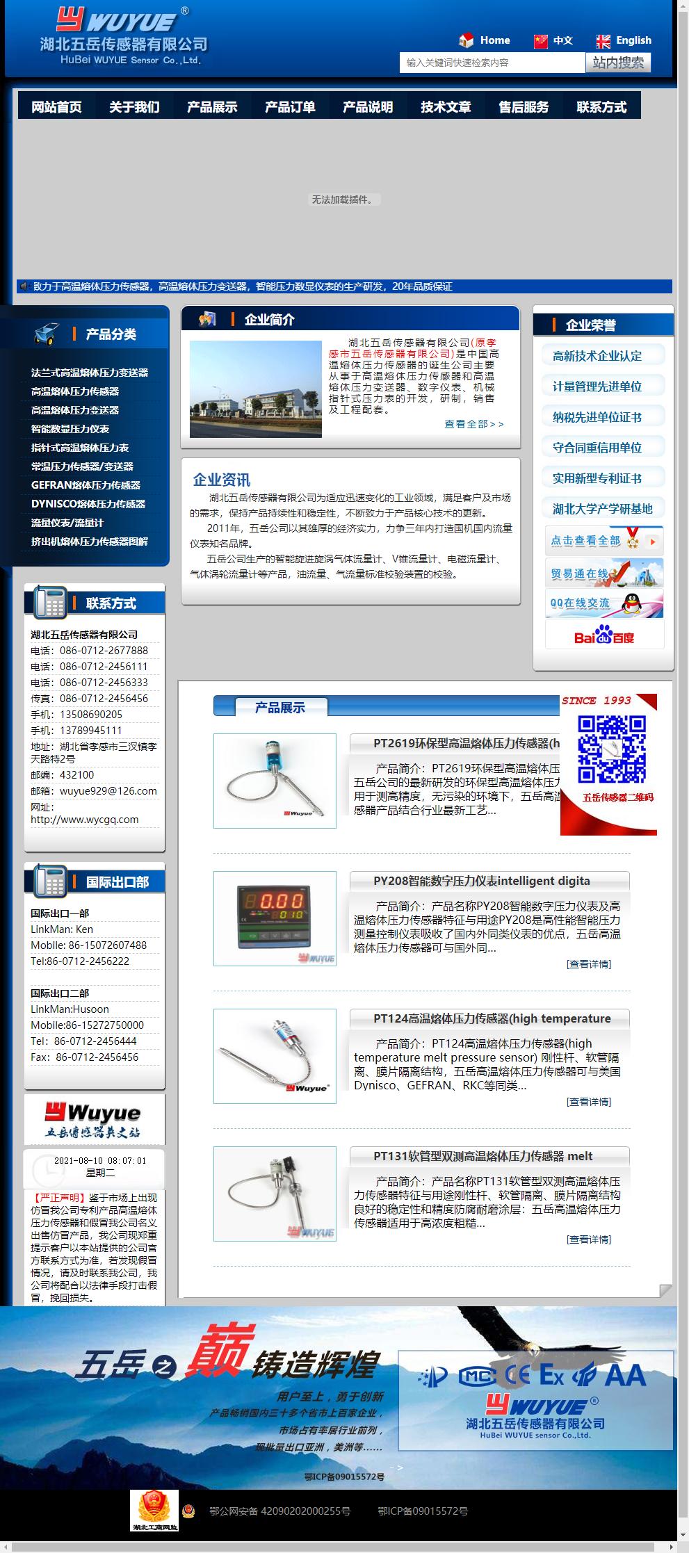 湖北五岳传感器有限公司网站案例